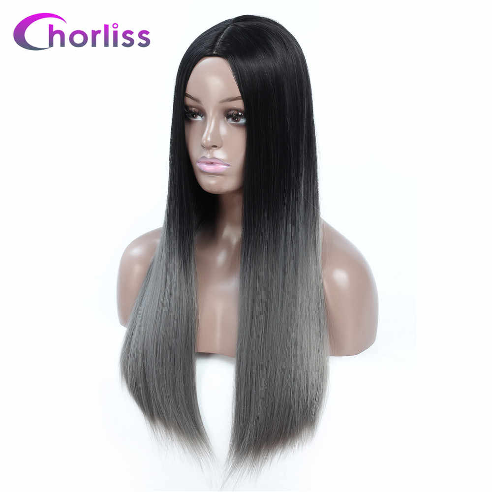 Ombre Synthetic Wig Long Straight Female Wigs Pink Gray Blonde  Chorliss Natural Black Women Hair Wig Middle Part Cosplay Wigs