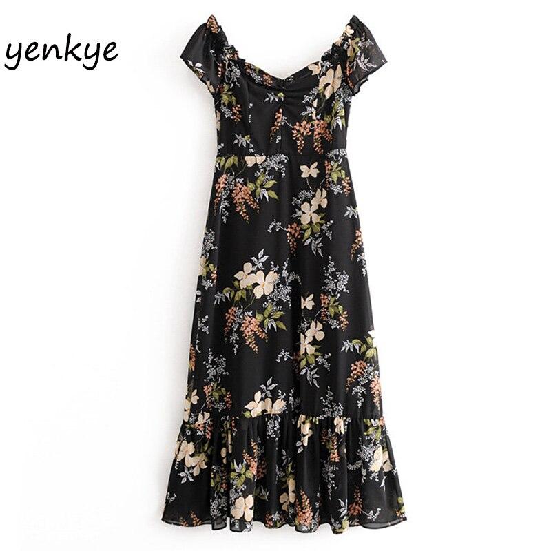 Vintage Floral Print Sexy Off Shoulder Dress Women Summer Dress 2020 Lady Short Sleeve Slash Neck Chiffon Dress Long  OMZZ6909