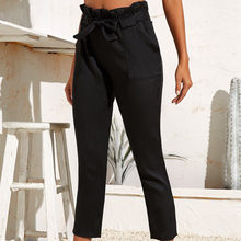 In The Summer Europe And The United States Fashion Tall Waist Casual Pants Elastic Black Chiffon Pocket Casual Pants(China)