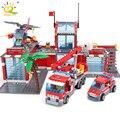 HUIQIBAO Blöcke Spielzeug 774 stücke Feuer Station Modell Bausteine Stadt Bau Feuerwehr Lkw Bildungs Ziegel Spielzeug Kind