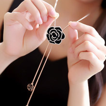цены Camellia Flowers Luxury Sweater Chain Jewelry Collier Femme Sweater Chain Long Necklace For Women