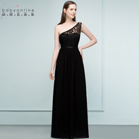 24 Hours Shipping Black Lace Long Evening Dress Vestido De Festa Sexy One Shoulder Evening Gowns Robe De Soiree Longue
