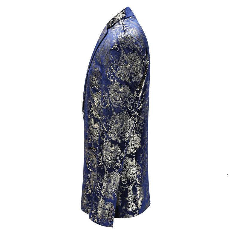 2020 חדש כחול זהב פרח דפוס שלב תלבושות עבור גברים אנגליה סגנון בתוספת גודל 5XL Slim Fit נשף מסיבת בלייזר מעיל זכר מעיל