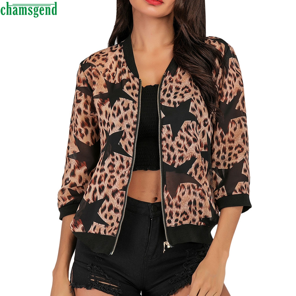 Chamsgend Ladies Fashion Leopard Printed Zipper Jacket Three Quarter Sleeve Short Coats Baseball Outwear Chaquetas Cremallera
