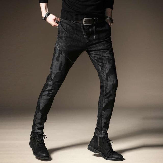 Free shipping new fashion men's male casual Original camouflage jeans men plus velvet autumn stitching pants male Slim Korean 28