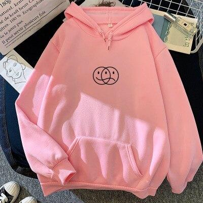Korean Streetwear Sweatshirt Men Women Casual Pullover Hip Hop Long Sleeve Smile Sad Face Line Print Sport swear Tops Hoodies 13