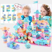 76-152PCS Big Size DIY Marble Race Run Maze Balls Track Building Blocks Funnel Slide Brick Block Toys For Children
