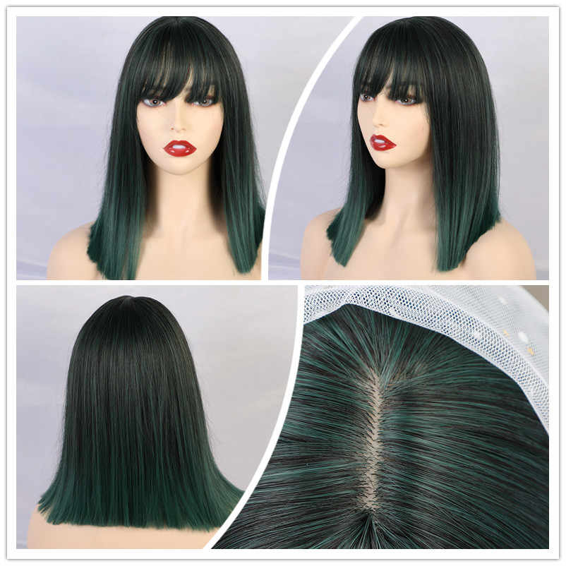TINY LANA Short Straight Ombre Black Brown Synthetic Wigs with Bangs for Women Bob Wig Heat Resistant Lolita Cosplay wig