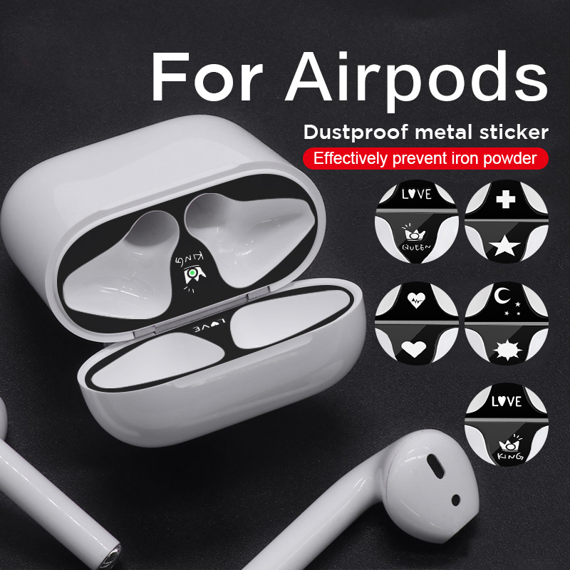 Patterned Metal Dust Guard Sticker For AirPods 2 1 Fashion Skin Protective Sticker For Airpods 1 2 Earphone Case Shell Sticker