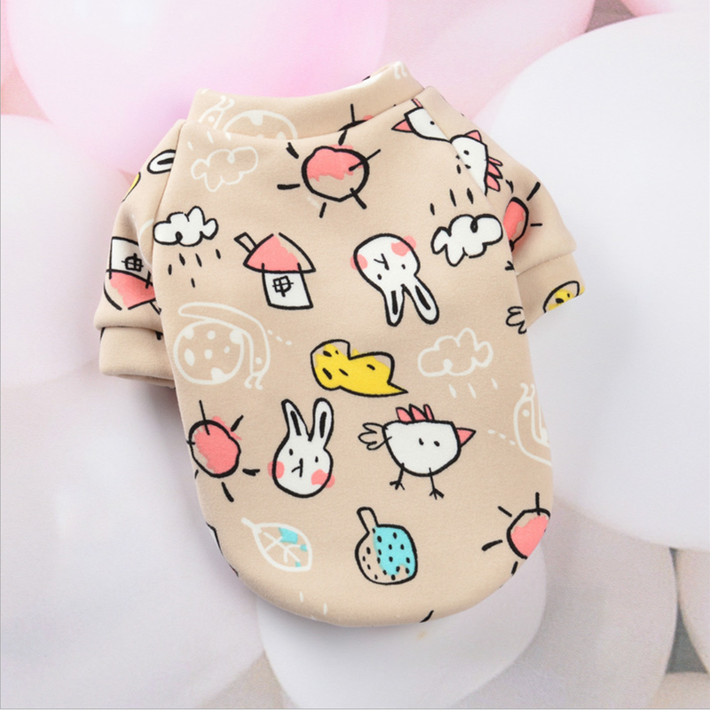 Cute Print Small Dog Hoodie Coat Winter Warm Pet Clothes for Chihuahua Shih Tzu Sweatshirt Puppy Cat Pullover Dogs Pets Clothing 16