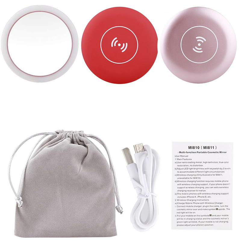 Wireless Charging LED Makeup Mirror Portable Round 3 Modes Adjustable For Women QP2