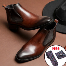 Men winter Boots Genuine cow leather chelsea boots brogue casual ankle flat