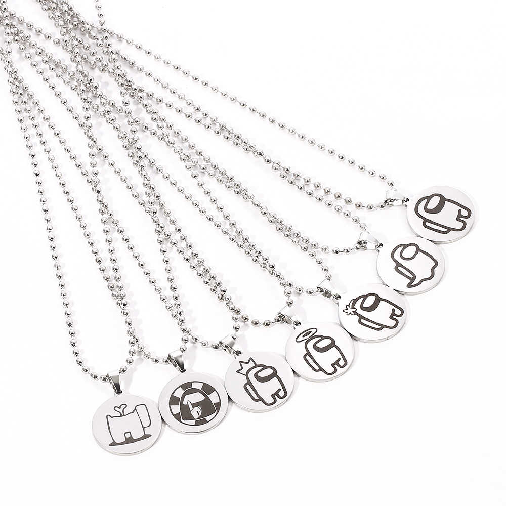 COMTRUDE Among Us Color Necklace Bead chain Premium Stainless Steel Amongus Game Pendant Chain for Strategy casual game lovers