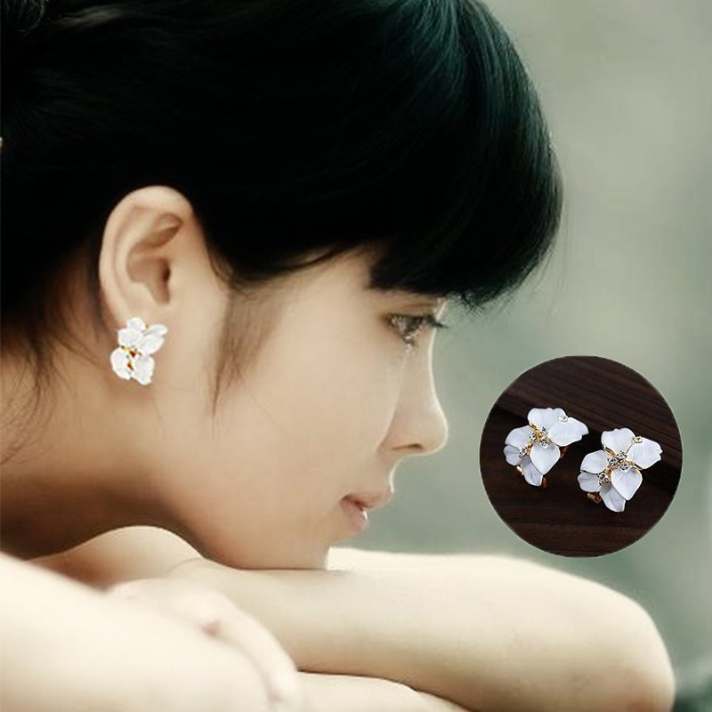 Korean Fashion <font><b>Earrings</b></font> <font><b>for</b></font> <font><b>Women</b></font> <font><b>Trendy</b></font> Alloy Floral Party Jewelry Gifts Ladies Elegant Black White <font><b>Pink</b></font> <font><b>Flower</b></font> Stud <font><b>Earring</b></font> image