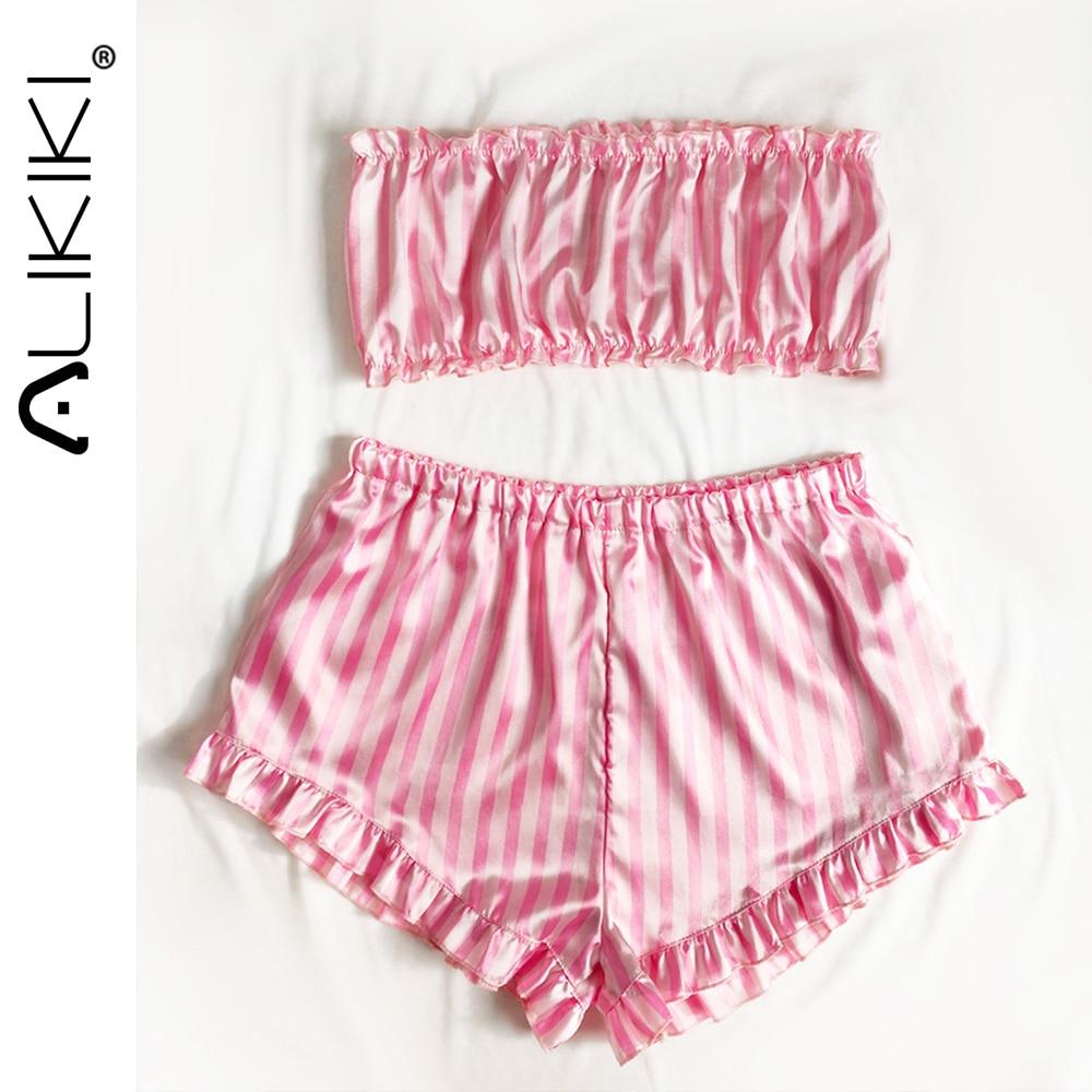 Women 2pcs Pink Pajamas Tube Top Shorts Set Sleeveless Satin Silk Pajama Set Cute Sleepwear Ladies Pjs Home Suit Pj Para Mujer 1