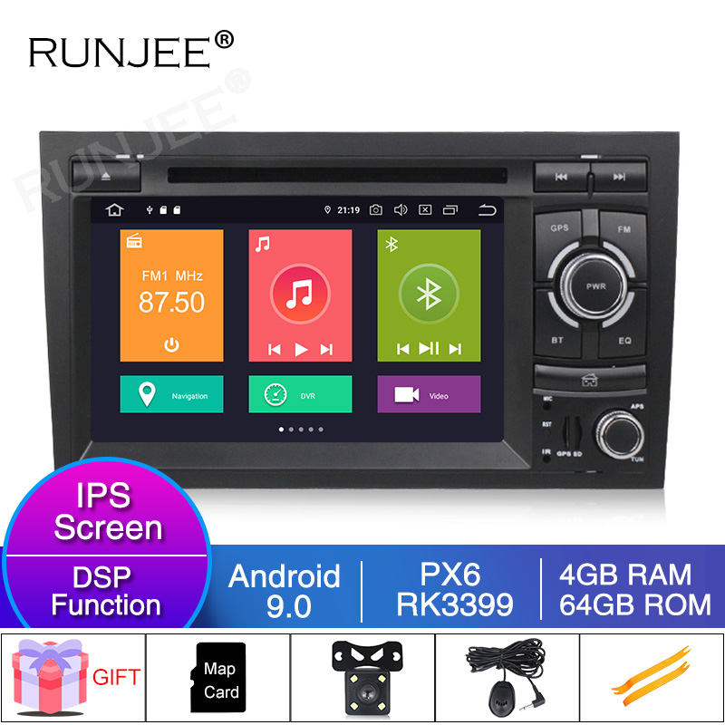 RUNJEE 4G 64G six core Android 9 Car DVD player For <font><b>Audi</b></font> <font><b>A4</b></font> <font><b>B6</b></font> B7 S4 B7 <font><b>B6</b></font> RS4 B7 SEAT Exeo <font><b>multimedia</b></font> radio tape recorder image