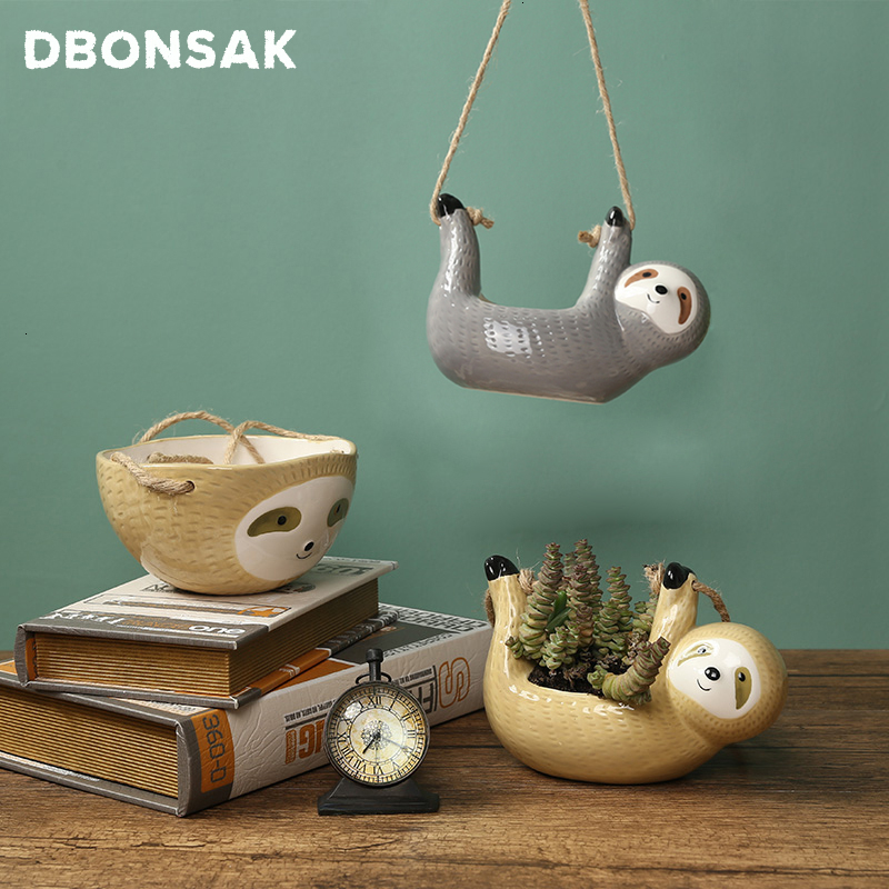 Hanging Ceramic Sloth Planter | Wall Hanging Planters