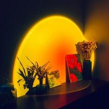 Lámpara de proyector de atardecer, luz Led nocturna de ambiente arcoíris para el hogar, dormitorio, cafetería, tienda, decoración de fondo de pared lámpara de mesa por USB