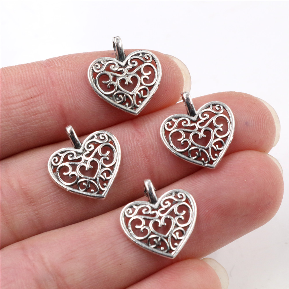 15pcs Charms Hollow Lovely Heart 16x14mm Antique Making Pendant Fit,Vintage Tibetan Silver Plated Bronze,DIY Bracelet Necklace