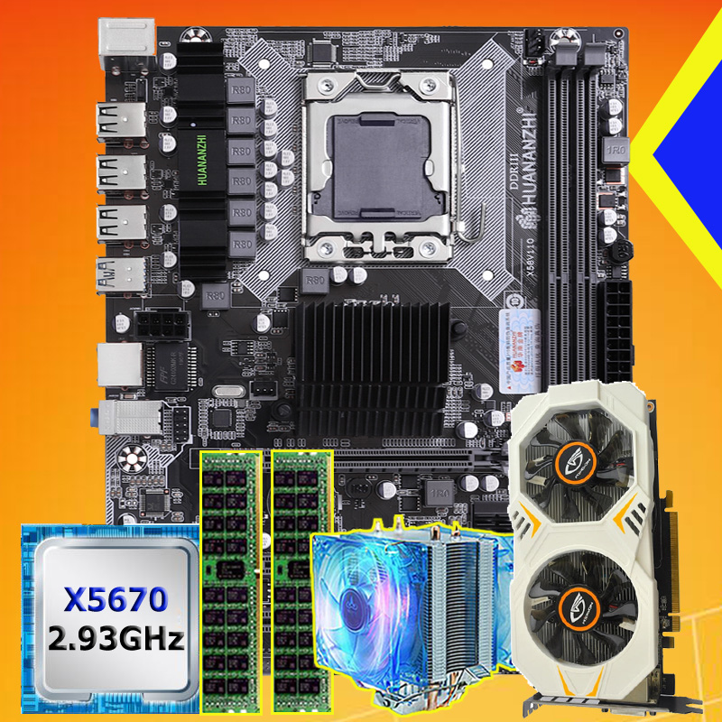 Discount Motherboard Bundle HUANANZHI X58 Motherboard With CPU Xeon X5670 2.93GHz RAM 16G(2*8G) RECC GPU GTX750Ti 2G Video Card