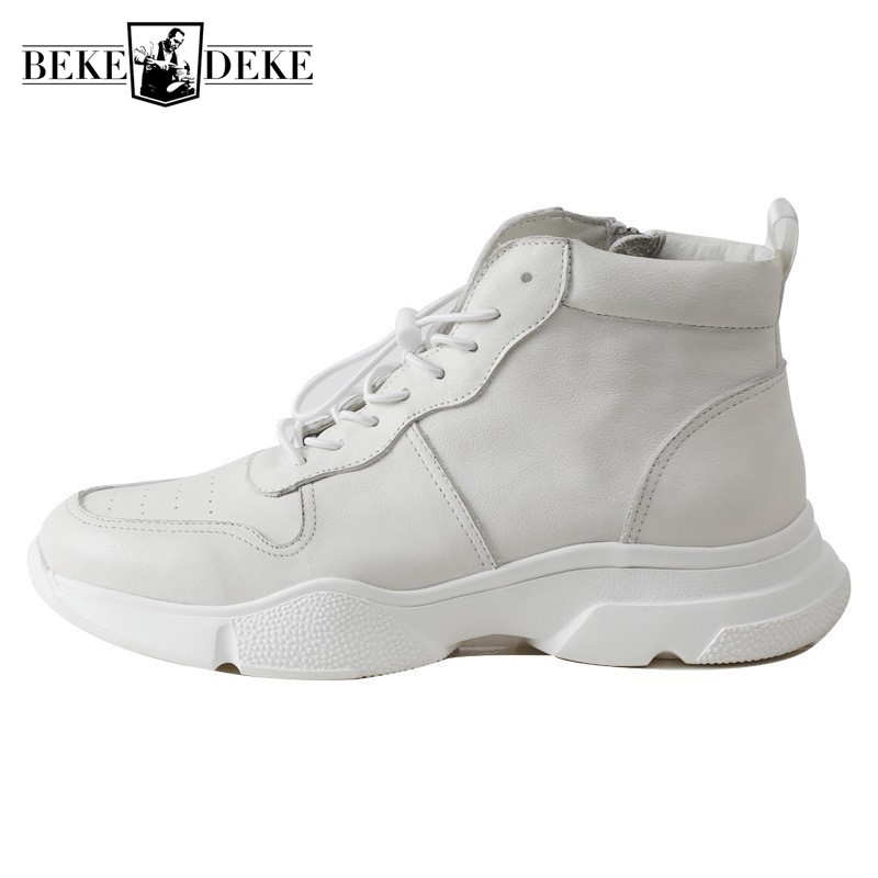 Winter High Top Shoes Men Genuine Leather White Casual Platform Sneakers Zipper Ankle Motorcycle Punk Boots Hip Hop Chunky Shoes