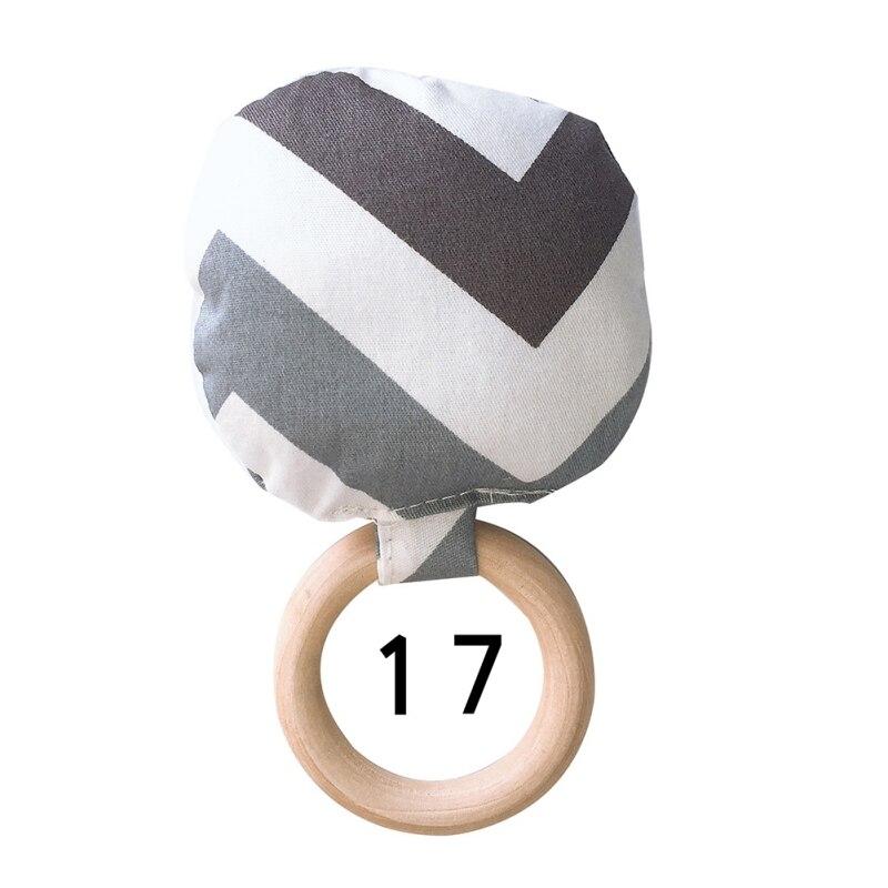 Новорожденный ребенок прорезыватель кольцо Жевательная Прорезыватель портативный ручной безопасная, из дерева натуральное кольцо детские зубы упражняющая игрушка подарок - Цвет: Q