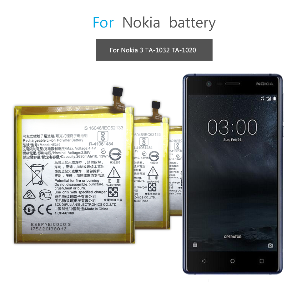 Mobile Phone Battery For Nokia 3 Nokia3 TA-1020 1028 1032 1038 Replacement Battery HE319 2630mAh