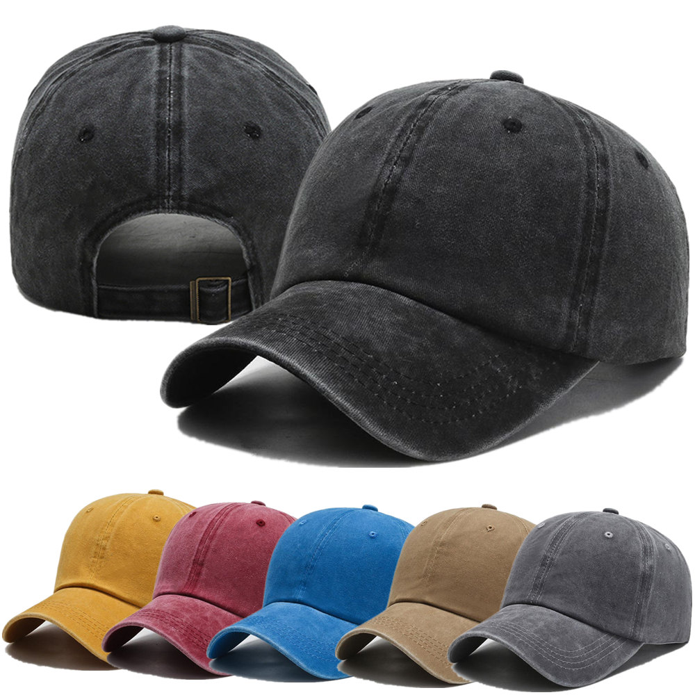 New Unisex Cap Plain Color Washed Cotton Baseball Cap Men & Women Casual Adjustable Outdoor Trucker Snapback Hats Dropshipping