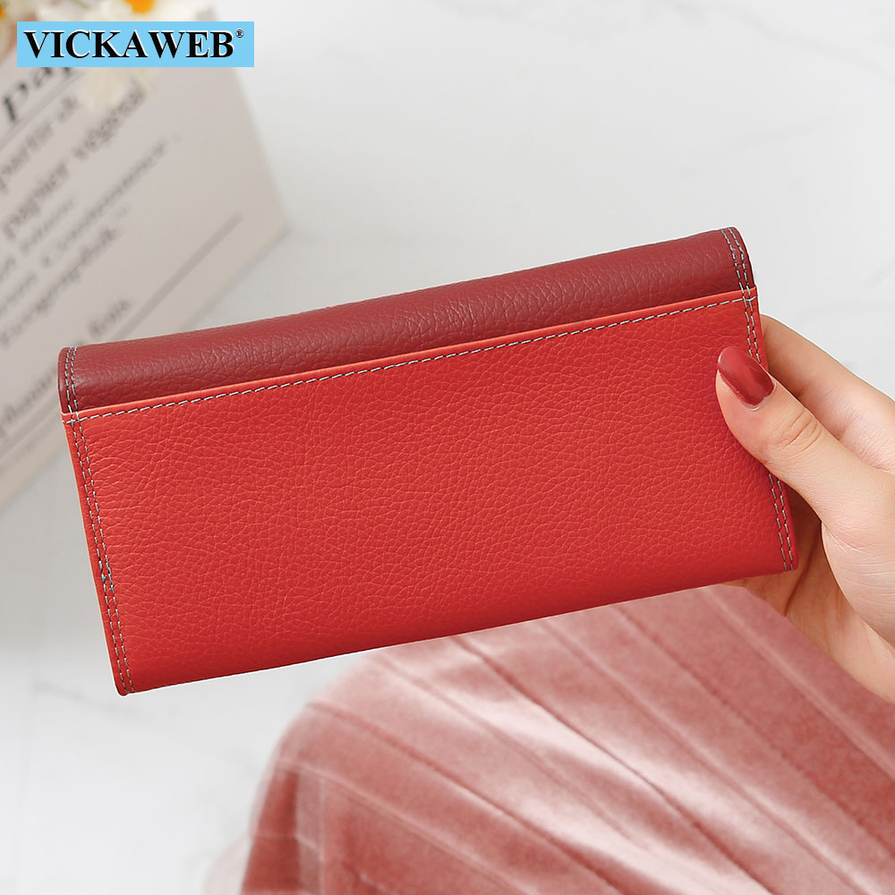 Image 2 - VICKAWEB Women Wallet Female Long Patchwork Genuine Leather Money Purse Ladies Fashion Wallets Woman Hasp & Zipper Coin PursesWallets   -