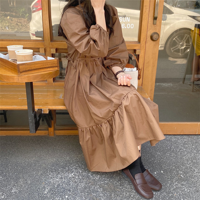 H3673169c14024c7a87e29bc3e5bdd59ay - Spring / Autumn Square Collar Long Lantern Sleeves Loose Solid Midi Dress