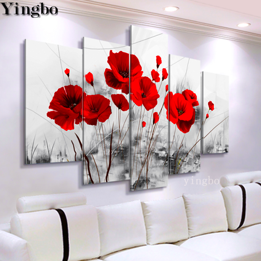 5d Diamond Painting Full drill Square Round 5pcs Red poppy flower abstract DIY Diamond Embroidery Mosaic Cross stitch Decoration