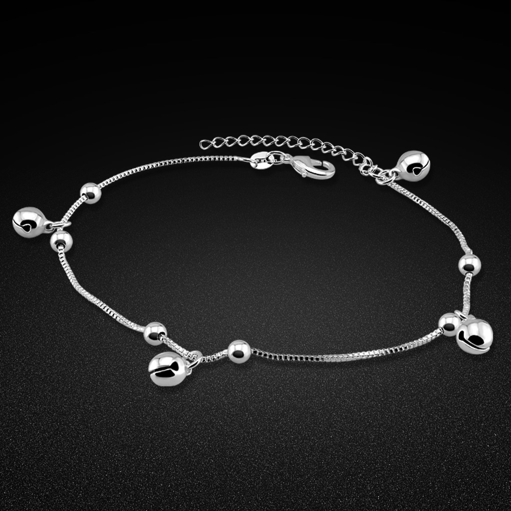 Fashion cute sterling silver bell anklet. 100% solid 925 sterling silver anklets for girls. Charming woman silver jewelry. gift