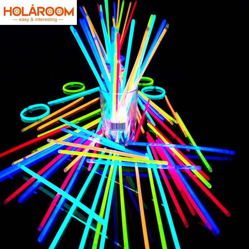 100 Pcs Party Fluorescence Light Glow Sticks Bracelets Necklaces Neon For Wedding Party Glow Sticks Bright Colorful Glow Sticks