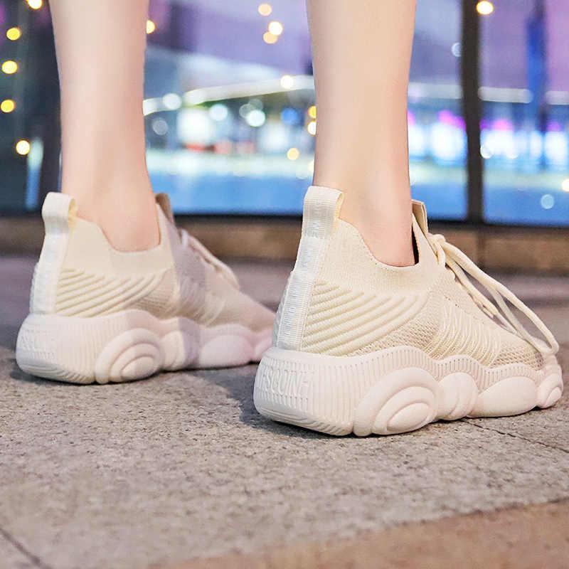 גרבי ספורט נשים מזדמנים גופר נעלי פלטפורמת שמנמן סניקרס גבירותיי מאמן תחרה עד אביב נשי שטוח נעלי טניס