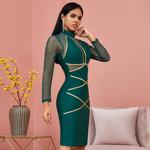 Image 2 - Spring Green Long Sleeve Bodycon Bandage Dress Women Sexy Hollow Out Mesh Dresses Autumn Celebrity Evening Runway Party Vestidos