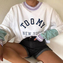 Синий Повседневный пуловер с длинными рукавами и буквенным принтом