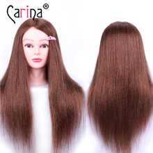 60CM Hairdresser Mannequin Head With Natural Hair Practice Hairdressing Doll For Hairstyles Human Dummy