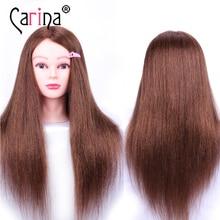 цена на 60CM Hairdresser Mannequin Head With Natural Hair Practice Head Hairdressing Hair Doll Head For Hairstyles Human Hair Dummy Head