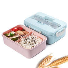 Caja para almuerzo sellada en microondas, Bento de paja de trigo para adultos y niños, contenedor de almacenamiento de alimentos, libre de Bpa, vajilla escolar de estilo japonés