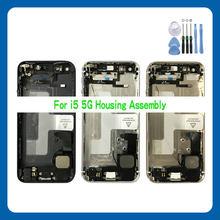 Capa traseira completa para o iphone 5 5g 5S 5c se habitação porta da bateria meio chassis quadro caixas montagem porta traseira com cabo flexível