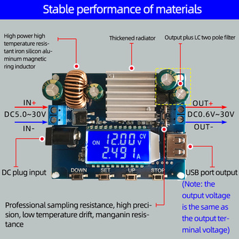 цена на Adjustable Boost Module Buck Module Voltage Converter LCD Display DC-DC 5V 12V 35W Buck Boost Power Supply Module solar charger