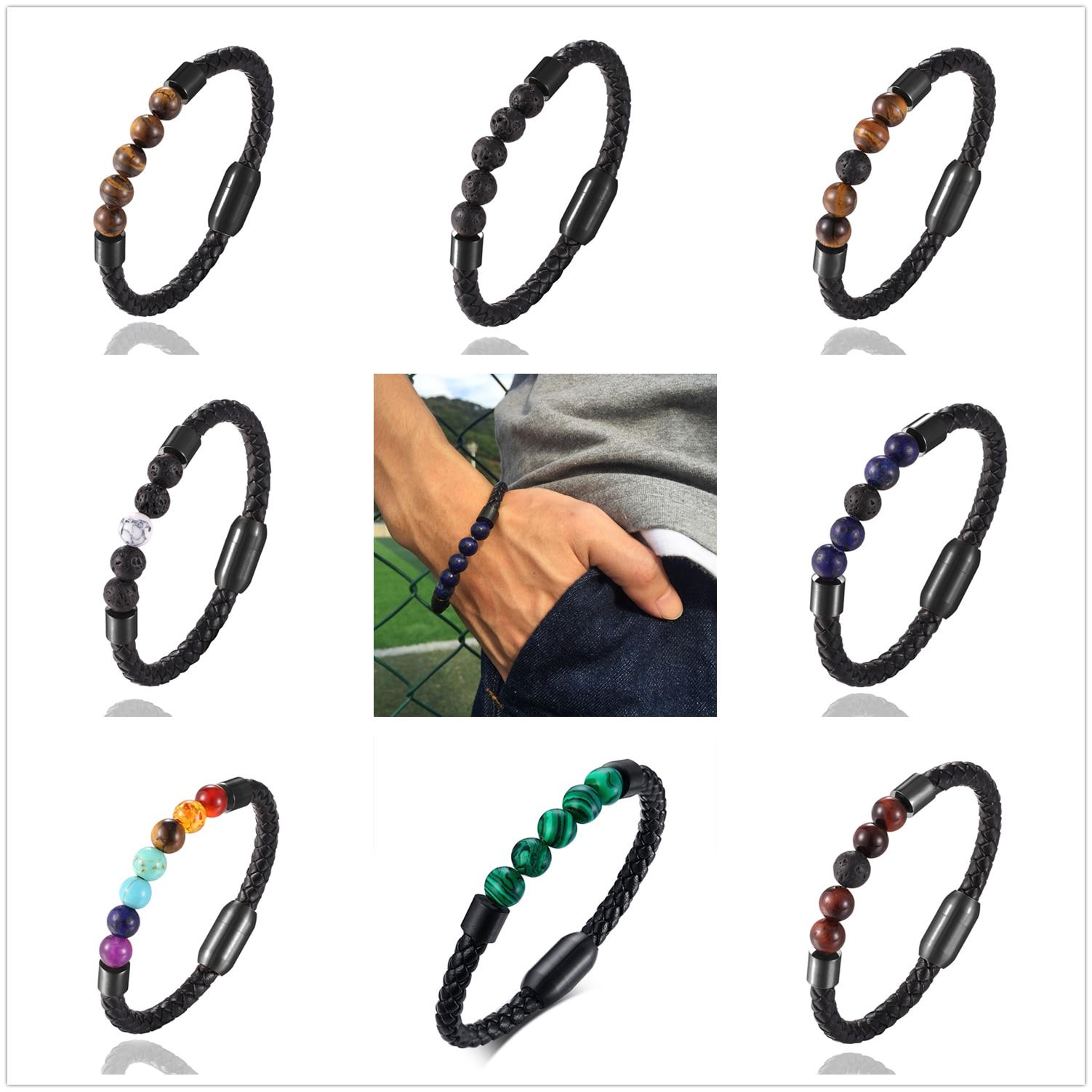 2020 New Fashion Charm Male Leather Bracelet Lava Chakra Stone Beads Black Stainless Bracelets & Bangles for Men Punk Jewelry