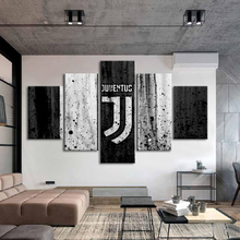 Famous Football Team Flag Logo Posters Print 5 Pieces Canvas Sports Paintings Boys Wall Art Home Decor