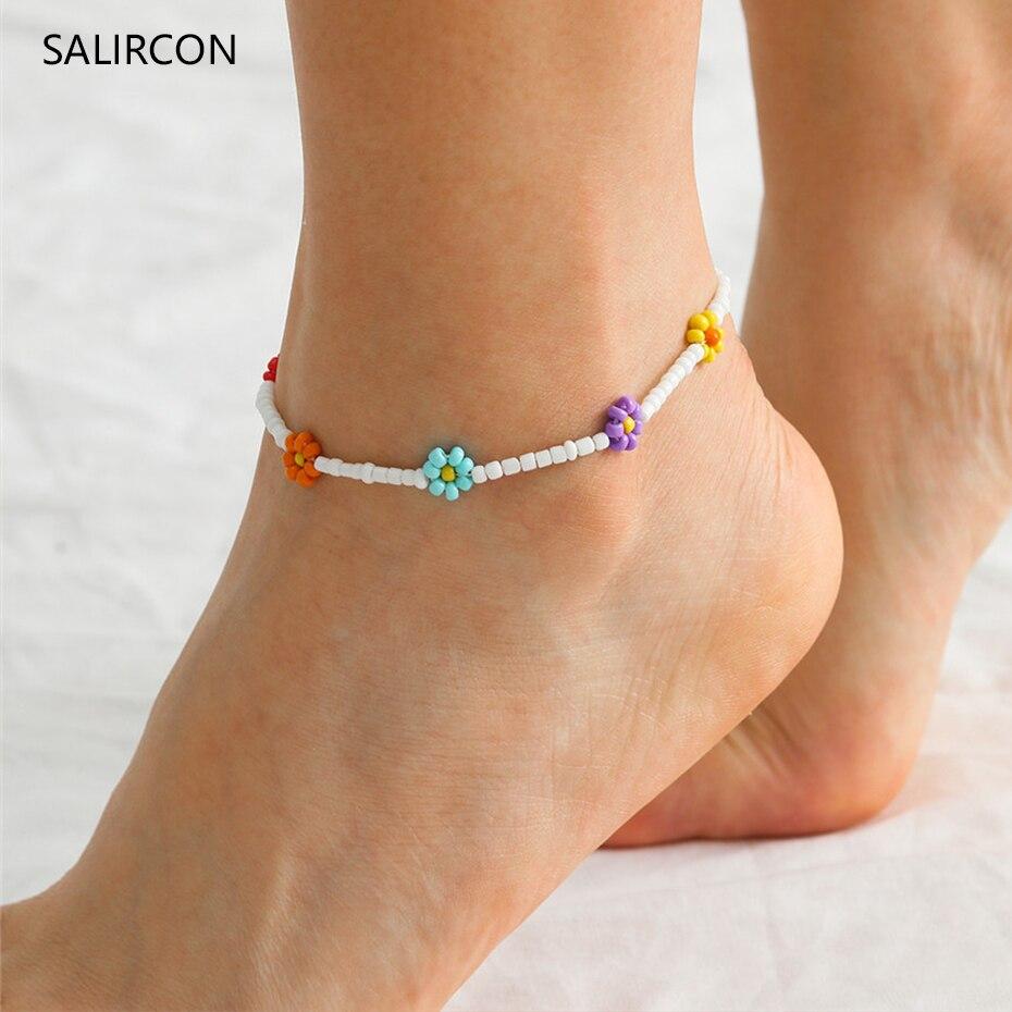 Salircon Kpop Daisy Flower Anklet Bracelet Women 2020 Fashion Colorful Seed Beads Chain Charm Bracelet On The Leg Boho Jewelry