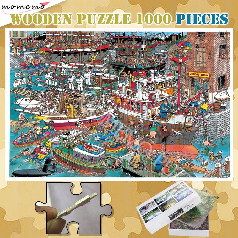 Pure Wooden Puzzle 300 500 1000 Pieces Cartoon Anime Painting Jigsaw Picture Puzzle Crowded Ports Puzzles Games For Adults Kids