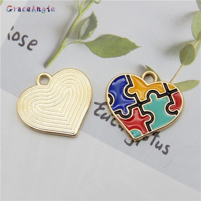 6 sztuk kolorowe tworzenia biżuterii DIY emalia autyzm wisiorek Handmade Craft kawałek układanki Charms dla bransoletka kolczyki śliczny prezent DIY