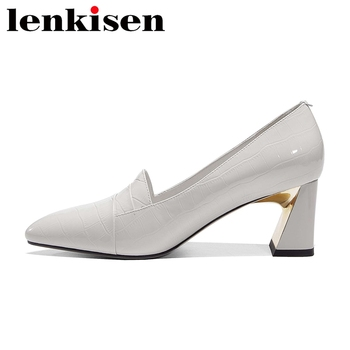 Lenkisen European style fashion shoes women natural leather pointed toe high heels young lady slip on classic colors pumps L98