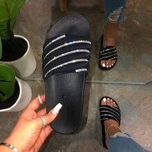جديد 2021 المرأة شاطئ أحذية مطاطية أحذية امرأة الوجه يتخبط الإناث حجر الراين sildes كاندي الصنادل في الهواء الطلق الشقق بالجملة قطرة