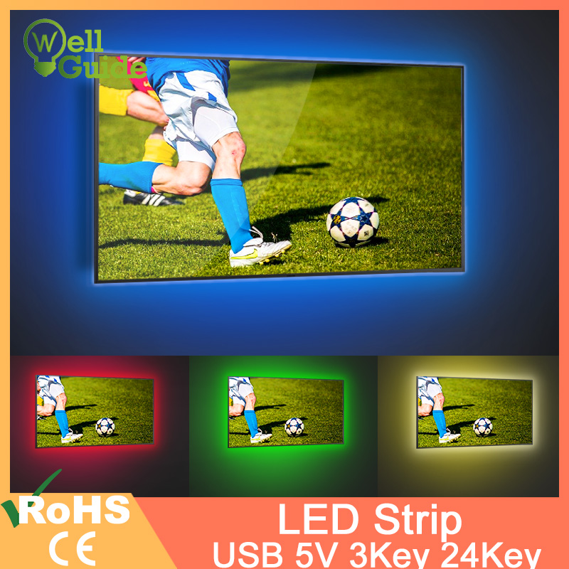 LED Strip SMD 2835 USB DC 5V Mini 3Key 24Key 50CM 1M 2M 3M 4M 5M Flexible Light Lamp Desk Decor Screen TV Background Lighting