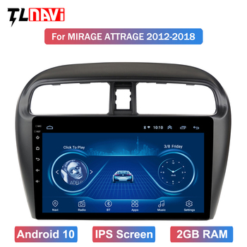 9 inch 2.5D IPS multi-touch screen Android 10 Navigation for 1Mitsubishi mirage attrage 2012-2018 USB WIFI support SWC image